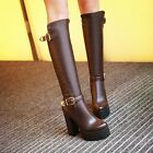 Sexy Women's Block high heels platform Buckle shoes pointed Over knee Long boots
