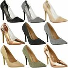 Womens Ladies Perspex Clear Stiletto High Heel Sandals Party Court Shoes Size UK