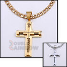 """P01 18-36""""men's Stainless steel Gold Silver Cross Pendant Cuban Necklace Chain"""