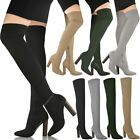 Womens Ladies Thigh High Stretch Knit Boots Over The Knee Celeb High Heels Size
