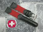 New Black Leather Strap Red Nylon Watch Band 20mm 19mm 18mm Wenger Swiss Army