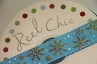 Reel Chic 22mm Blue Grosgrain Silver Snowflake FROZEN Style Ribbon - CHRISTMAS