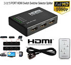 3 Or 5 PORT HDMI Splitter Switch Selector Switcher Hub+Remote 1080p For HDTV PS3