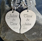 PERSONALIZED SILVER BROKEN HEART PENDANT NECKLACE CUSTOM ENGRAVED FREE