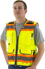 High visibility Surveyors Safety Vest, yellow two-tone heavy duty, Class 2