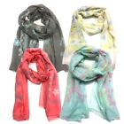 Sheer Scarf Top Fashionland Premium Soft Bordered Flowers Sheer Scarf