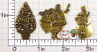 Santa Tree Snowman Set of Findings Stampings Finished Brass 1476setbo 1476setco