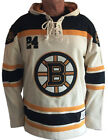 BOSTON BRUINS MEN'S RUGBY STYLE HEAVYWEIGHT LACER HOODIE FREE ORR #4 HAT by OTH