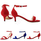 Peep Toe Ankle Strap Sandals Women Pumps Kitten Low Heel Faux Suede Ladies Shoes