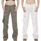 Multipack Wide Leg Cargo Pants Combat Trousers - (1 x green & 1 x White)