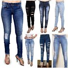 WOMENS RIPPED JEANS KNEE CUT JEGGINGS SKINNY FIT STRETCHY LADIES SIZES 6-16