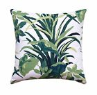 Tropical Leaves Throw Pillow, Green White Leaves Pillow, Bermuda Bay Palm Pillow