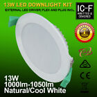 10PCS 13W SAA IC-F COOL NEUTRAL WHITE LED DOWNLIGHT KIT WHITE FRAME DIMMABLE NEW
