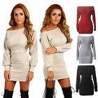 Sexy Womens Off Shoulder Long Sleeve Bandage Bodycon Slim Pullover Sweater Dress