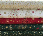 Fat Quarters Bundles Christmas 100% Cotton Fabric Festive Sew Red Gold Green F8