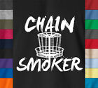 Funny CHAIN SMOKER Golf Disc Freesbie 100% Ringspun Cotton T-Shirt Frolfing Tee