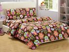 Fancy Linen Owl Brown Purple Pink Green White kids/Teens Comforter set