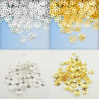 500Pcs Flower Gold Silver Plated Hollow End Beads Caps Charm Jewelry Making 6mm