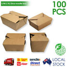 100pcs Kraft Brown Noodle Food Box Flat Deli Takeaway Noodles Rice with Lid
