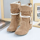 Casual women faux suede rope walk Mid calf boot pointed Lace up Flat Heel shoes
