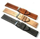 Hadley-Roma Distressed Oil Tanned, stitched leather strap. W/Resist. 20 or 22mm