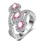 925 Silver 8CT Oval Heart Pink Sapphire White Gold GF Women Engagement Ring