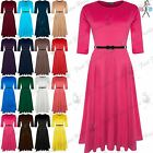 Ladies Womens Round Neck Flared Franki Swing Belted Skater Top Dress Plus Sizes