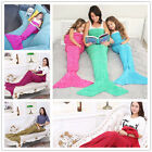 kids&Adult Super Soft Mermaid Tail Knitting Sleeping Bag Sofa Blanket Multicolor