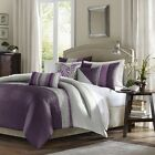 Luxury 6pc Plum Purple Grey Duvet Cover Bedding Set AND D...