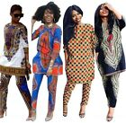 Women Traditional African Print Dashiki Suit Long Sleeve Tops + Pants Trousers