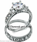 925 Sterling Silver 2 ct CZ Wedding Set Round Brilliant Pave Bridal Rings CERT