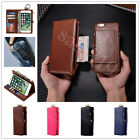 Luxury Genuine Leather Removable Wallet Magnetic Belt Pouch Card Case Cover Skin