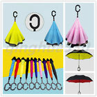 Windproof Double Layer Inside-Out/Upside Down/Reverse Folding C-Handle Umbrella