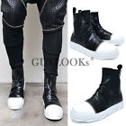 Avant-garde Designer Edge Mens White Toe Wrinkled Leather Hightop Shoes Guylook