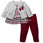 New Ashley's Baby Girls 3 pieces Cardigan Shirt Legging Size