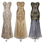 Women Long Dress Sequin Bodycon Mermaid Strapless Lace-up Evening Ball Maxi Gown