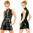 Black PVC Leather Shiny Wet Look Zip Mini Dress Clubwear Dancewear Costume
