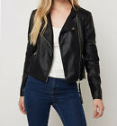 Women Black Leather Jacket With Ribbed Designs Sz XS-3XL