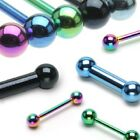 New Anodised Titanium over Surgical Steel Tongue Bar Barbell Choose Colour 14g