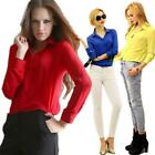 Vogue Women Casual Blouse Loose Long Sleeve Chiffon Shirt Tops Blouse Fashion