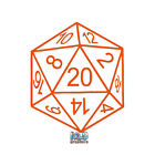 20 SIDED DICE LINE vinyl Sticker Roleplaying Game Role Play RPG Pen and Paper