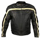 Xelement Armored Mens Black Leather Motorcycle Jacket with Beige Stripes