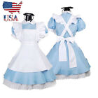 alice in wonderland costumes nz - US Stock Adult Girl Alice in Wonderland Costume French Maid Lolita Dress