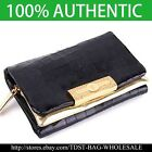 [OMNIA]Crystal Ladies Wallet Genuine Leather Trifold Purse ID Card Coins Bag311M image