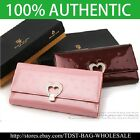 [OMNIA]Crystal Ladies Checkbook  Genuine Leather Purse Heart Trifold Wallet-380L image