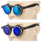 2 Pair Cool Flip Up Lens Steampunk Vintage Retro Round Sunglasses Blue Ocean Bla