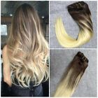 Ombre Remy Human Hair Extensions Balayage Chesnut Brown Fade to Bleach Bloned