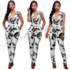 Sexy Women Deep V Nightclub Jumpsuit Bandage Leotard Pants Clubwear Party White