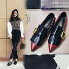 Womens Gladiaor Retro Pointy Toe Tassel Buckle Loafers Slip On Pu Leather Shoes