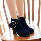 2017 Women Suede Block High Heels Ankle Boot Metal Buckle Party Prom Shoes Size
